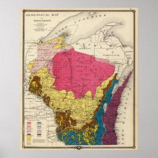 Mapa geológico de Wisconsin Póster