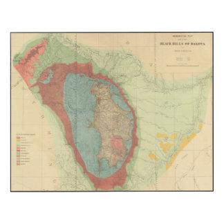 Mapa geológico del Black Hills de Dakota Impresión En Madera