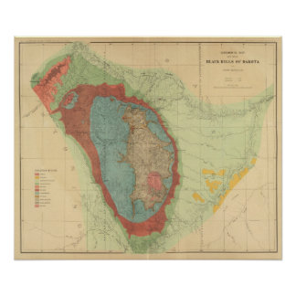 Mapa geológico del Black Hills de Dakota Posters