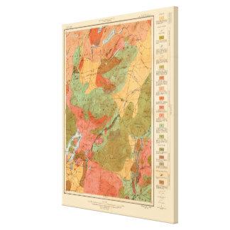 Mapa geológico del cuadrilátero del Lake Placid -  Lona Envuelta Para Galerías
