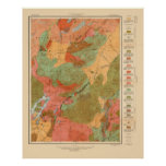 Mapa geológico del cuadrilátero del Lake Placid -  Póster