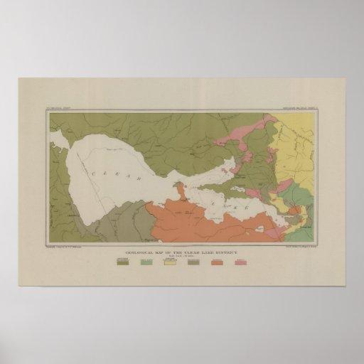 Mapa geológico del distrito claro del lago póster