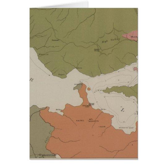 Mapa geológico del distrito claro del lago tarjeta de felicitación