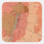 Mapa geológico del distrito de Washoe Pegatina Cuadrada