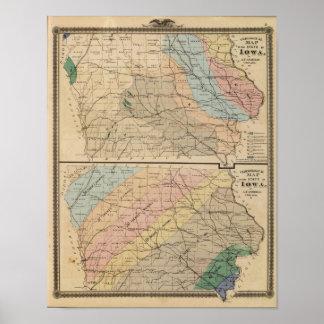 Mapa geológico del estado de Iowa Póster