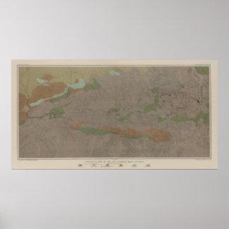 Mapa geológico del nuevo distrito de mina de Almad Poster
