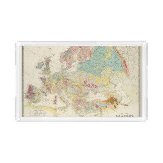 Mapa geológico Europa Bandeja Rectangular