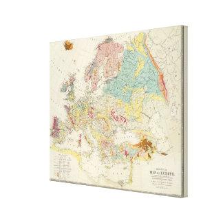 Mapa geológico Europa Impresion De Lienzo