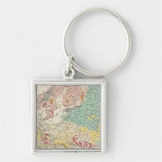 Mapa geológico Europa Llavero Cuadrado Plateado