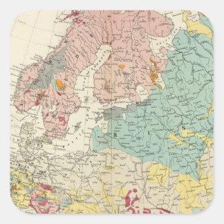 Mapa geológico Europa Pegatina Cuadrada