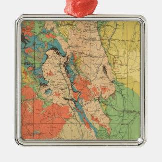 Mapa geológico general de Colorado Adorno Navideño Cuadrado De Metal