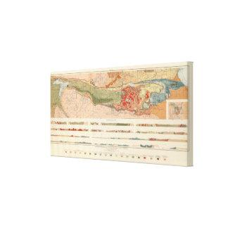 Mapa geológico general del distrito de Marquette Lienzo Envuelto Para Galerias