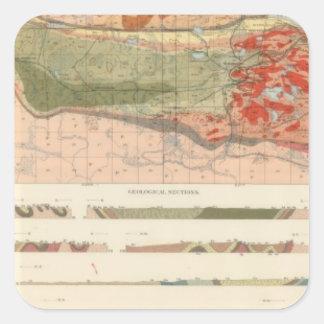 Mapa geológico general del distrito de Marquette Pegatina Cuadrada