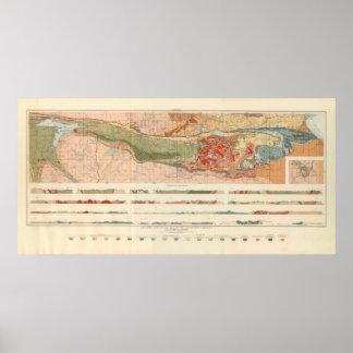Mapa geológico general del distrito de Marquette Póster