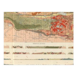 Mapa geológico general del distrito de Marquette Tarjetas Postales