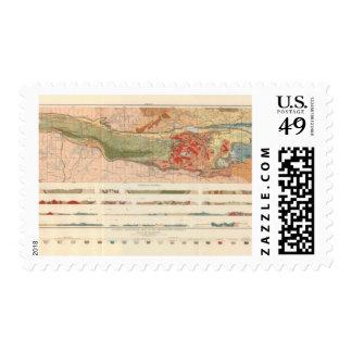 Mapa geológico general del distrito de Marquette Timbre Postal
