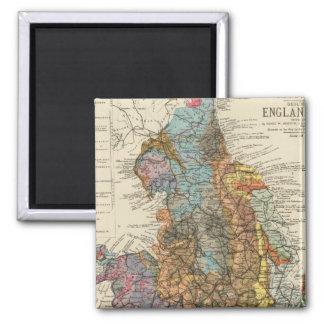 Mapa geológico Inglaterra, País de Gales Imán Cuadrado