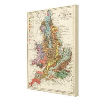 Mapa geológico Inglaterra, País de Gales Impresión En Lienzo Estirada