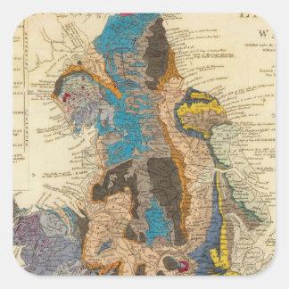 Mapa geológico, Inglaterra, País de Gales Pegatina Cuadrada