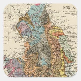 Mapa geológico Inglaterra, País de Gales Pegatina Cuadrada