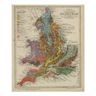 Mapa geológico Inglaterra, País de Gales Póster