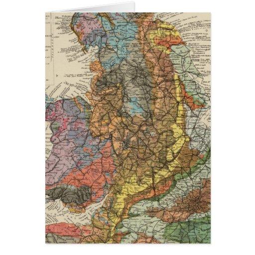 Mapa geológico Inglaterra, País de Gales Tarjeta De Felicitación