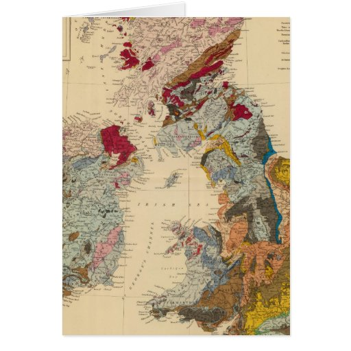 Mapa geológico, islas británicas felicitación