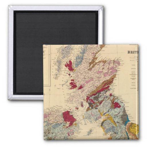 Mapa geológico, islas británicas imán cuadrado