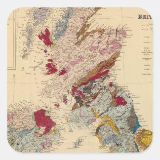 Mapa geológico, islas británicas pegatina cuadrada