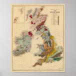 Mapa geológico, islas británicas poster