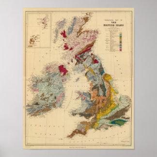 Mapa geológico, islas británicas póster