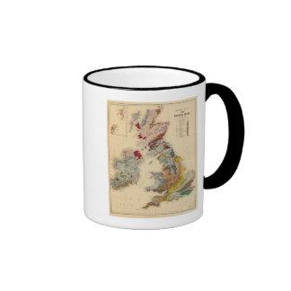 Mapa geológico, islas británicas taza de dos colores