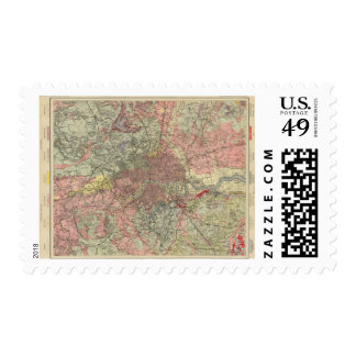 Mapa geológico Londres Timbre Postal