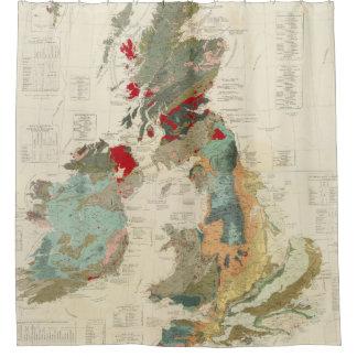 Mapa geológico, paleontológico compuesto cortina de baño