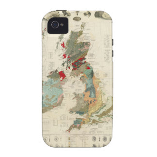 Mapa geológico, paleontológico compuesto iPhone 4 carcasa