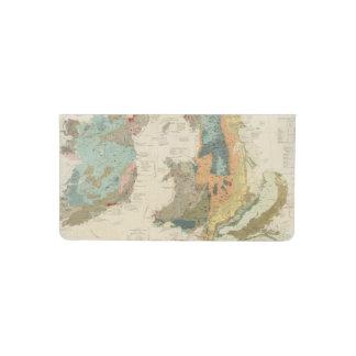 Mapa geológico, paleontológico compuesto funda para chequera