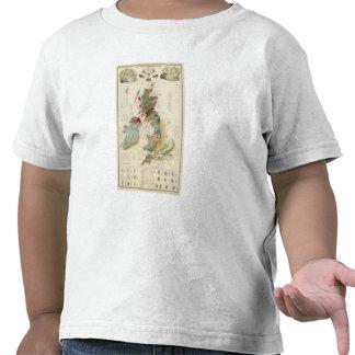 Mapa geológico, paleontológico compuesto camisetas
