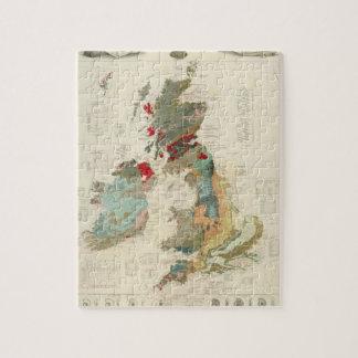 Mapa geológico, paleontológico compuesto puzzle con fotos