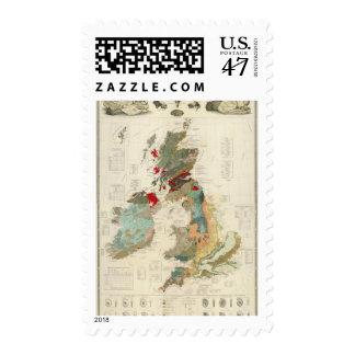 Mapa geológico, paleontológico compuesto sello postal