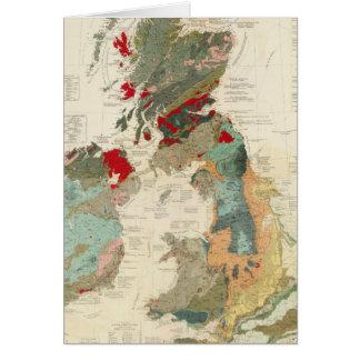 Mapa geológico, paleontológico compuesto tarjeta de felicitación