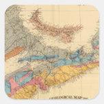 Mapa geológico, provincias marítimas pegatina cuadrada