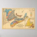 Mapa geológico, provincias marítimas póster
