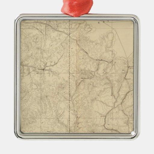 Mapa geológico que muestra la porción occidental adorno cuadrado plateado