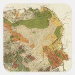 Mapa geológico San Francisco Pegatina Cuadrada
