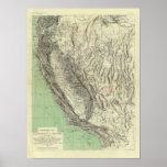 Mapa Geomorphic, California, Nevada Poster