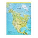 Mapa geopolítico de Norteamérica Tarjeta Postal