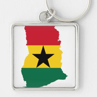 Mapa GH de la bandera de Ghana Llavero Cuadrado Plateado