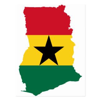 Mapa GH de la bandera de Ghana Tarjeta Postal