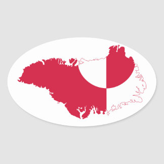Mapa GL de la bandera de Groenlandia Pegatina Ovalada