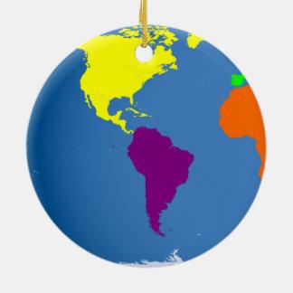 Mapa global adorno navideño redondo de cerámica